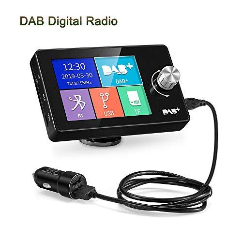 "LEXXSON DAB Adapter für Autoradio | 2.8\"" buntes Display Radioadapter, tragbares DAB Transmitter Digital Radio Bluetooth FM-Transmitter mit Freisprechfunktion, AUX-IN/OUT"