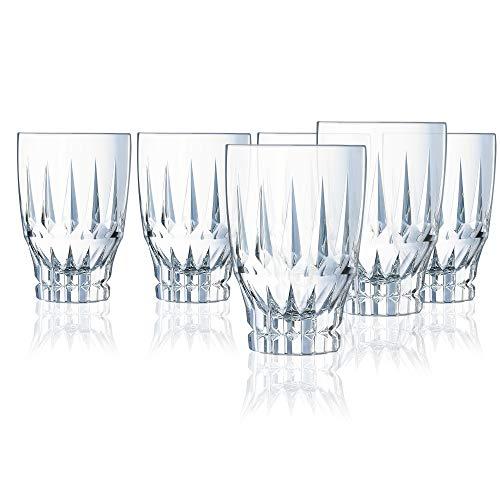Cristal d'Arques L8170 Ornements - Set di 4 bicchieri da long drink in cristallo di alta qualità, 4 bicchieri da 36 cl, bicchieri da acqua, pareti spesse e robusti, trasparenti