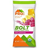 Probar - Bolt Organic Energy Chews, Non-GMO, Gluten-Free, USDA Certified Organic, Healthy, Natural Energy, Fast Fuel Gummies with Vitamins B & C (2) Pink Lemonade, 12 Count (Pack of 1) 1 Count