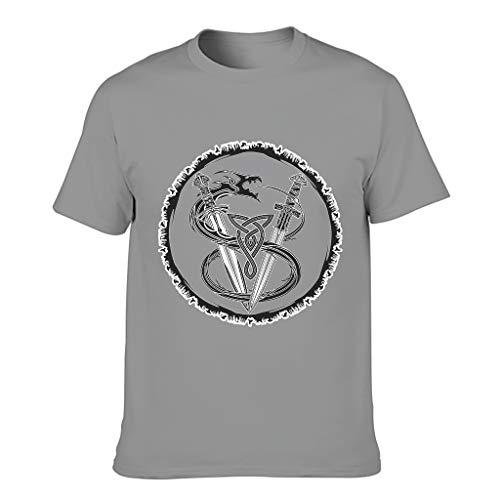 MiKiBi-77 Camiseta de algodón para hombre Viking Swords Cozy Crew Neck - Top Shirt for Home