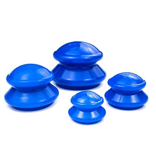 JZK 4x Juego de tazas de masaje chino Cupping Therapy, ventosas de silicona al vacío, herramienta de masaje portátil, juego de masaje corporal para circulación sanguínea, alivio del dolor