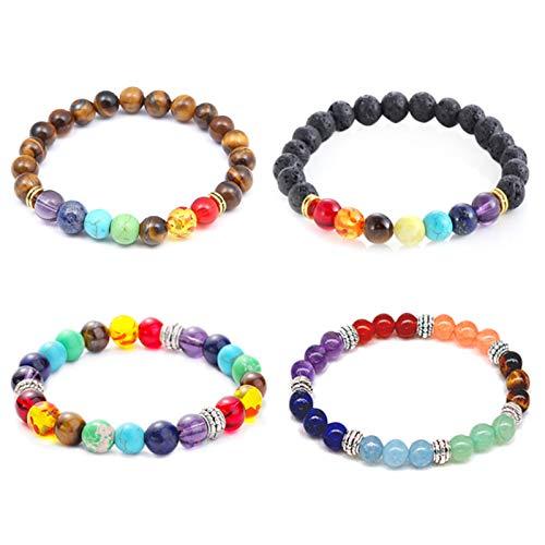 Chakra Bracelet en pierre de lave et œil de tigre naturelle Bracelet 7 perles chakra pour yoga Meditation (paquet de 4 pièces)