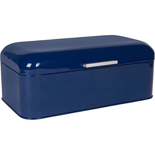 Large Blue Bread Box - Powder Coated Stainless Steel - Extra Large Bin for Loaves, Bagels & More: 16.5 x 8.9 x 6.5