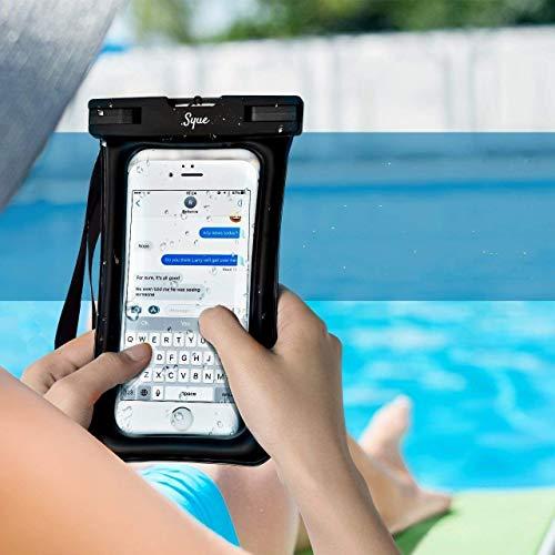 Syue 'Funda Impermeable para teléfono [Flotante] para Pantallas de hasta 7 Pulgadas Certificación IPX8 Funda Impermeable Smartphones universales para iPhone XR XS 8 7 6s Samsung S10 S9 S8 Negro