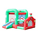 AirMyFun Inflatable Locomotive Bouncy House, Kids Bouncy Castle with Air Blower, Jump & Slide Bounce with Ball Pool