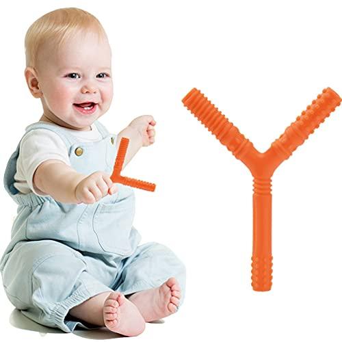 歯がため 指歯がため Y型歯がため 0歳 新生児 天然ゴム 収納箱つき 人気 欧米で人気的 ピンク 可愛い 男の子 女の子 ベビー 赤ちゃん 出産祝い 誕生日 プレゼント (オレンジ色)