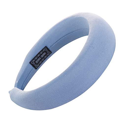 strimusimak Durable Color Sólido Mujeres Niña Headwear Esponja Espuma Suave Cabello Accesorio Lago Azul