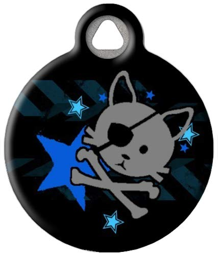 Dog Tag Art Custom Pet ID Tag for Cats - Pirate Kitty - Small - .875 inch