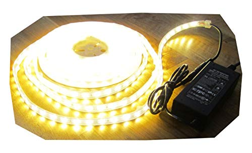 SA Set : Bandes LED Stripe Strip 300LED 5 m Blanc Chaud étanche Blanc Chaud avec Bloc d'alimentation 3 A/36watt