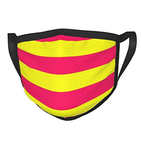 Bright Neon Pink And Yellow Horizontal Cabana Tent Stripes Cloth Face Mask Washable 3d Print Adjustable Reusable Washable Bandana for Men Women