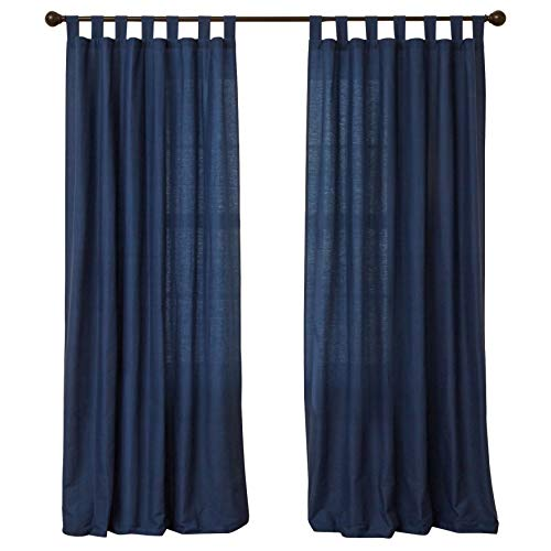 BrylaneHome Cotton Canvas Tab-Top Panel - 48I W 45I L, Navy