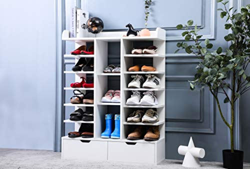 7-Tier Shoe Rack for Entryway Wooden Shoe Organizer Space Saving Shoe Storage Stand with 2 Drawers Free Standing Shoes Shelf Storage Racks Holds 15 Pairs White