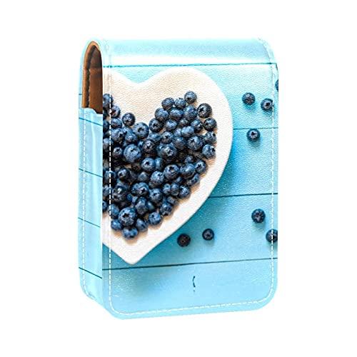 Make-up-Tasche Lippenstift-Etui für Außen Mini-Tasche Reisekosmetiktasche mit Spiegel-Lippenstift-Box Blaue Beeren im weißen Herzen für Frauen Damen Geschenke