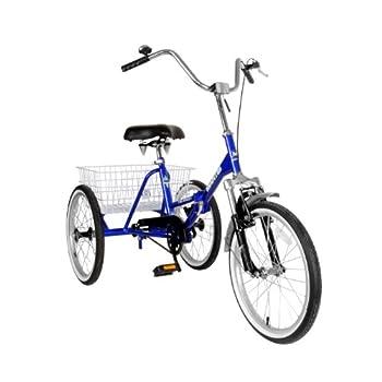 Mantis 67520 Tri-Rad Folding Adult Tricycle 20 inch Wheels 16 inch Frame Unisex Blue