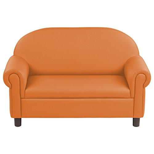 ECR4Kids SoftZone Little Lux Upholstered Pre-School Sofa for Kids Room, Orange
