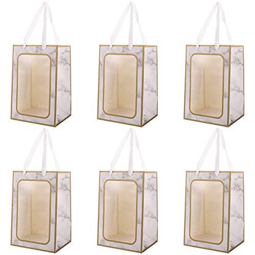 VALICLUD 6Pcs tragbare Blumenstrauß Packtaschen Marmorierung Geschenk Handtaschen (Gold Edge)