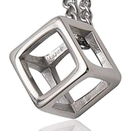 【Ludus Felix】ネックレス メンズ キュービック 立方体 サージカル ステンレス ジュエリーボックス付き ペンダント シルバー メンズネックレス (シルバー)