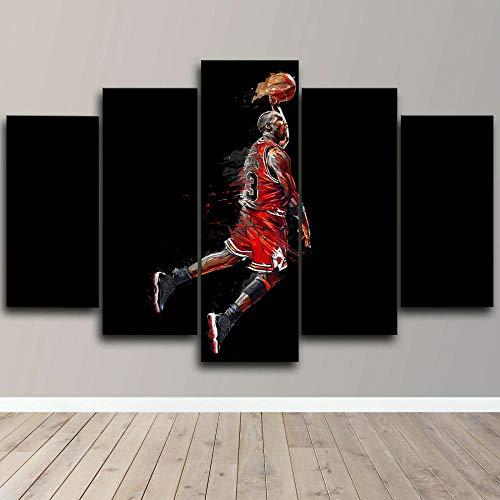 TOPRUN 5 Piezas Cuadro sobre Lienzo De Fotos Michael Jordan Baloncesto Americano Mate Lienzo Impresión Cuadros Decoracion Salon Grandes Cuadros para Dormitorios Modernos Mural Pared Listo para Colgar