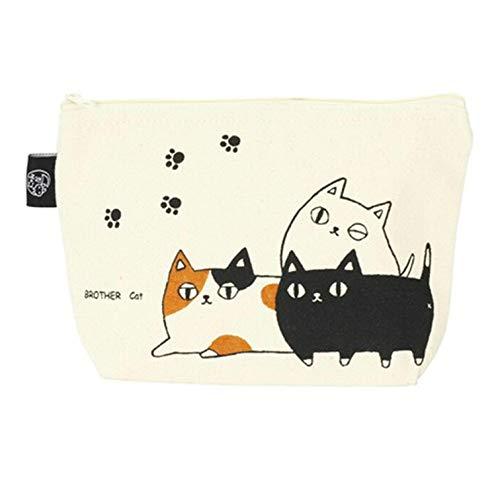 ポーチ 猫3兄弟 小物ポーチ 化粧ポーチ 小物入れ 猫 コンパクト バッグ メイクポーチ ki-094 (3匹ポーチ)