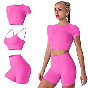 Workout Sets for Women 3 Piece Seamless High Wasit Yoga Legging Shorts with Sport Bra and Compression Shirt Crop Top Sets Sport Suits Fitness Athletic Tracksuits 3pcs-hot Pink Small