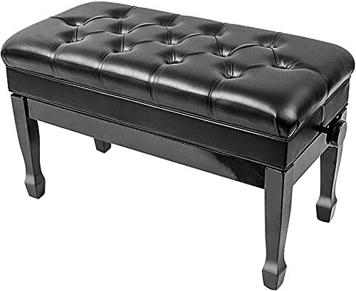 ZHANGCHI. Holz-Duett-Klavierbank mit Musik-Lagerung einstellbarem Klavierhocker mit weichem Kissen, für professionelle Zuhause, Gewichtskapazität 180 kg (Color : Black)