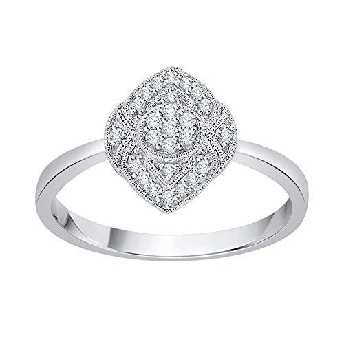 Katarina - Anillo de oro blanco de 14 quilates con diseño de diamante (1/8 quilates, G-H, VS2-SI1)