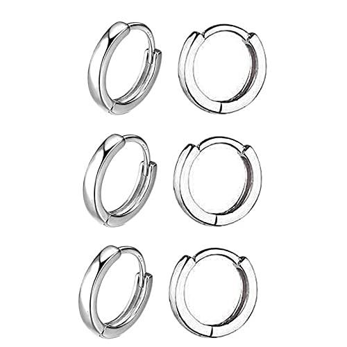 3 pares de pendientes pequeños de aro para mujer, de oro de 14 quilates, pendientes de aro para hombres, hipoalergénicos, joyería pequeña para mujeres, Cristal Metal, desconocido,