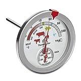 TFA Dostmann Analoges Braten-/ Ofenthermometer 14.1027, aus Edelstahl, hitzebeständig, mit verschiedenen Garstufen, zur Kerntemperaturmessung, silber