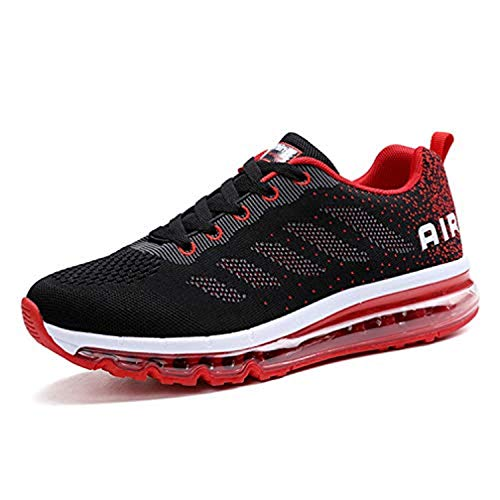 Monrinda Damen Sportschuhe Herren Laufschuhe mit Luftpolster Turnschuhe Sneakers Leichte Sport Schuhe Outdoor Trainers Wblackred44