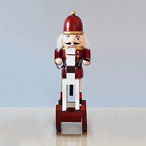 Klassischer Nussknacker mit Soldat aus Holz und Nussknacker für Jede Sammlung, klassischer dekorativer Nussknacker, perfekt für Jede Deko-Themen-Regale und Tische aus 100% Holz, 38,1 cm hoch A4-red