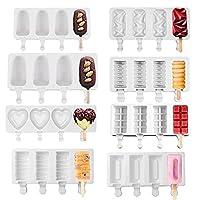 DIYアイスクリームに使用される自家製の木製アイスキャンディーを使用した手作りの3DDIYシリコンアイスクリーム型(8セットの型、無料の100本の木の棒)