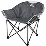 Suntime Sofa Chair, Oversize Padded Moon Leisure Portable Stable Comfortable Folding Chair for Camping, Hiking, Carry Bag (Gray)