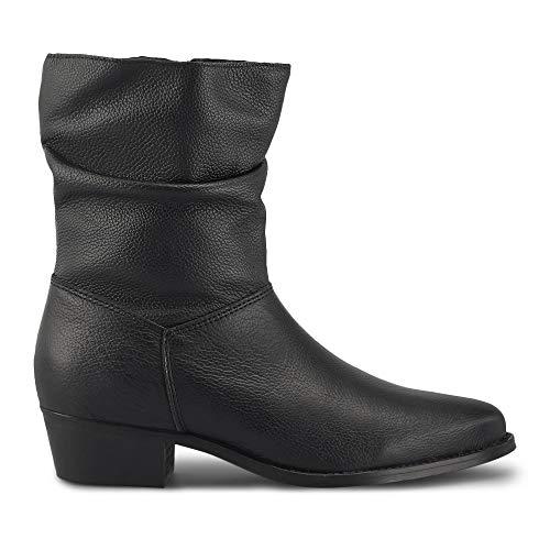 Cox Damen Trend-Stiefelette aus Leder, lässiger Halbstiefel mit innenliegendem Reißverschluss, Leder-Boots mit dezentem Block-Absatz, in Schwarz Schwarz Strukturiertes Leder 37