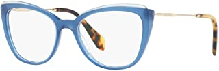 MU 02QV - VYC1O1 Eyeglass Frame Blue, TOP Transparent BLU 53mm