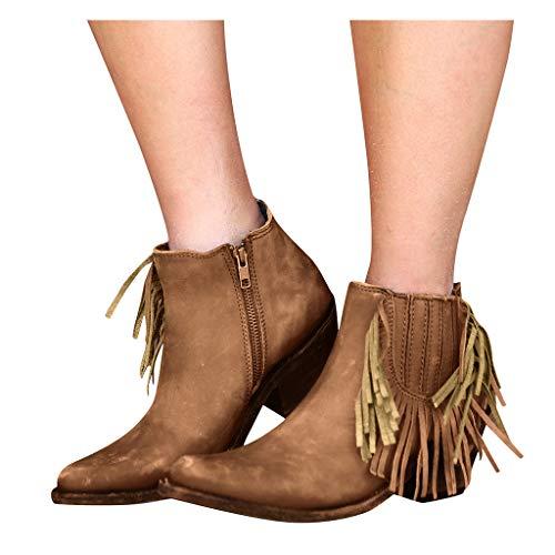 Stiefeletten Damen Vintage Stiefel mit Fransen und Reissverschluss, Frauen Ankle Boots Bequem Elegant Westernstiefel Herbst Winter Damenschuhe Celucke (Braun, 42 EU)
