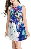 Ocean Plus Niña Verano Casual Vendimia Vestidos Sin Mangas Flamenco Patrón Lindo Impreso Rodilla Larga Gatito Tramo Partido Dress (M (Altura: 145-155 cm), Salpicaduras de Unicornio)