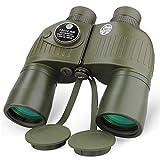 Prismáticos marinos para adultos, telescopio óptico de 10 x 50 con buscador de rango y brújula BAK4 Prisma FMC lente para navegar, pesca, viajes, observación de aves