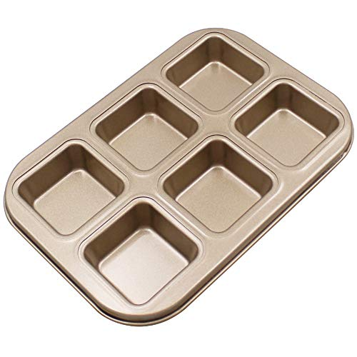 Chef Vinny Rectangle Nonstick Carbon Steel Baking Bread Pan Bread Mold Loaf Pastry Baking DIY Pan Baking Supplies 1pc/Set(6 Loaves Square)