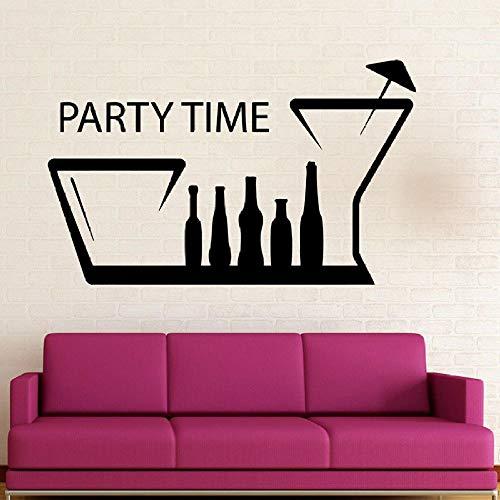 Mrlwy Fiesta tiempo etiqueta de la pared bebida botella de vino taza vinilo ventana calcomanía decoración de interiores Mural extraíble 42x68 cm
