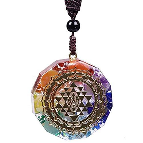Merkts Collar de siete chakras, piedra epoxi, colgante de grava de siete chakras, collar de yoga de energía, joyería fina, regalo para el día de San Valentín