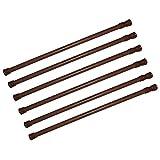 6 Pack Spring Tension Curtain Rod Adjustable Length for Kitchen, Bathroom, Cupboard, Wardrobe, Window, Bookshelf DIY Projects (Wood Grain - 6 Pack,15.7' to 28' Adjustable)