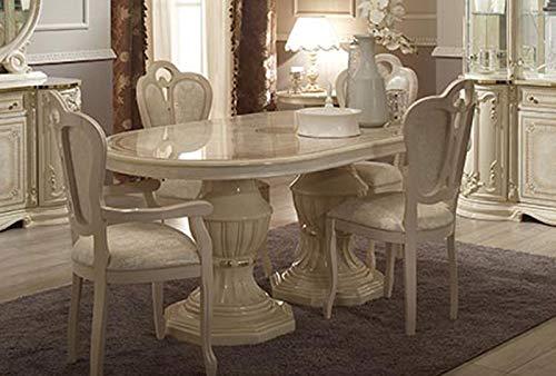 LIGNEUBLE Garbo lacado marfil comedor barroco - La mesa de comedor ovalada alarga