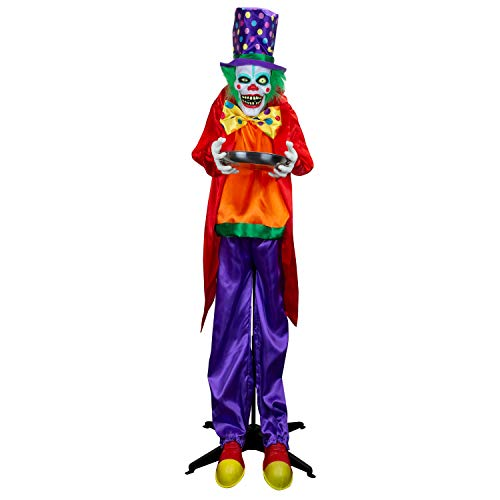 Holidayana Animated Clown Halloween Decoration - 5.6 ft Tall Animatronic Clown with Candy Dish Halloween Decoration, Sound and Touch Activated with Sounds, Lights and Movement