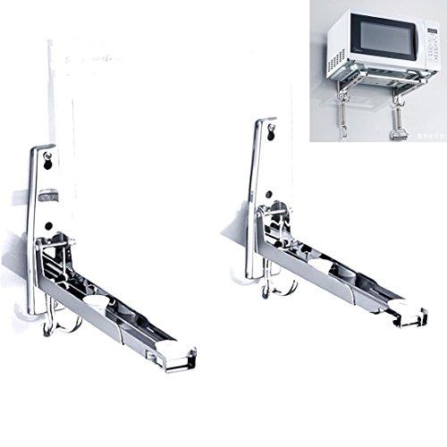 AWADUO Edelstahl Mikrowellenherd Rack, Retrackable Faltbare Mikrowelle Wall Mounted Ständer Halter Rack Bracket mit zwei Haken
