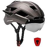 Shinmax Casco Bicicleta Hombre Mujer Adulto para con Magnética Visera Gafas con LED USB Recargable Luz Cuerda de Seguridad Reflectante Casco de Bicicleta Montaña Certificación CE 57-62CM (NR-033)