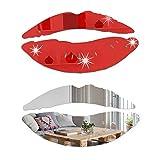2 juegos de adhesivos de espejo de labios grandes, 3D removibles forma de beso pegatinas de pared de acrílico para papel pintado murales para sala de estar, decoración del hogar