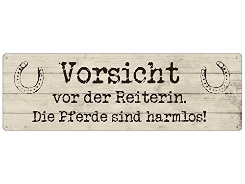 Interluxe METALLSCHILD Blechschild Vorsicht VOR DER Reiterin *DIE Pferde* Stall Reiterhof