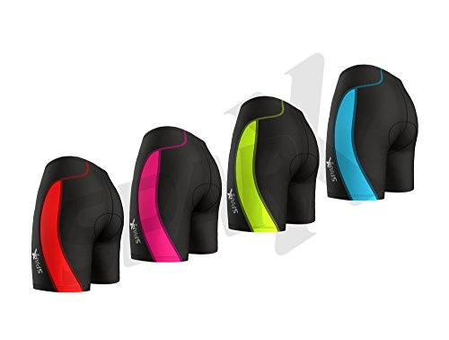 Sparx Women's Triathlon Short Active Tri Shorts Bike Swim Run (Black/Red, 2XL)