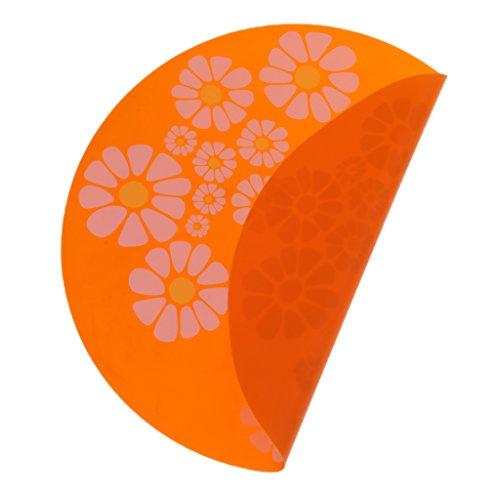 Blumen Futtermatte Unterlegmatte Silikonmatte Unterlage für Fressnapf oder Trinkbrunnen, für Hunde & Katzen - Rund, Orange