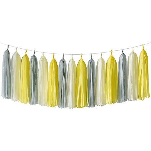 HappyField Yellow Gray Cream Tissue Paper Tassel Garland Birthday Party, Bridal Shower, Baby Shower, Wedding, Bachelorette, Table Decor Event & Party Decorations, DIY Kits